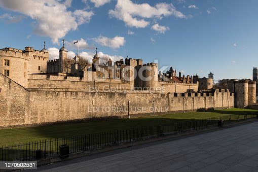 London, UK - Mar 10 2019: The exterior of the Tower of London late in the day.