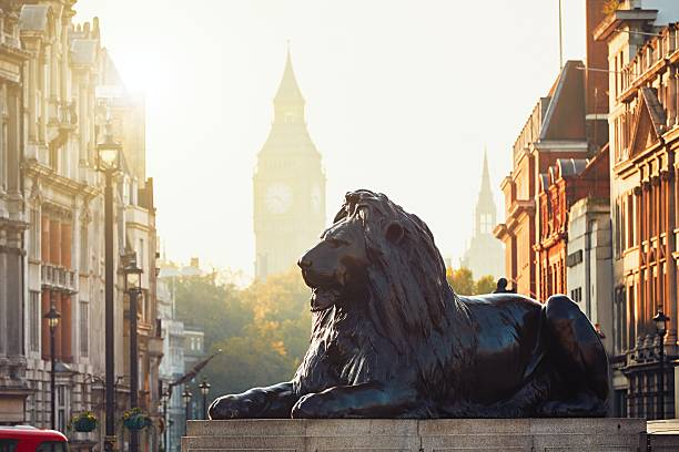 London London street at the sunrise. View from Trafalgar Square to Big Ben at the sunrise. city of westminster london stock pictures, royalty-free photos & images