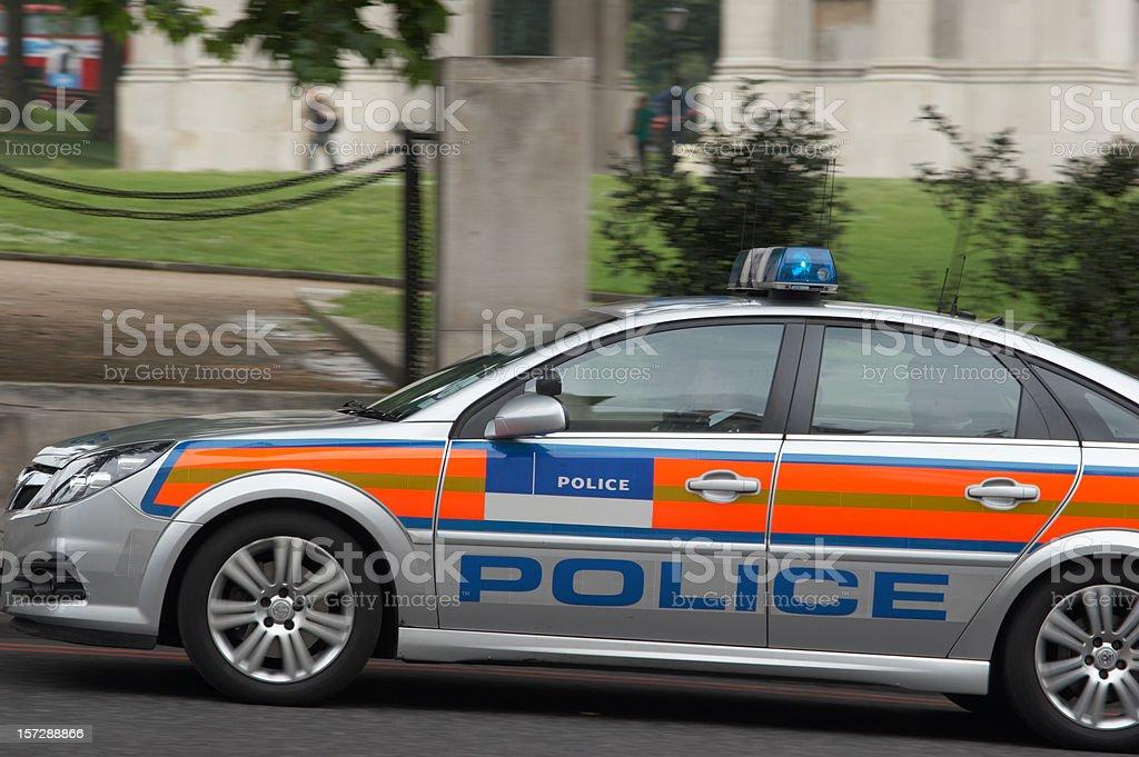 London police car speeding stock photo