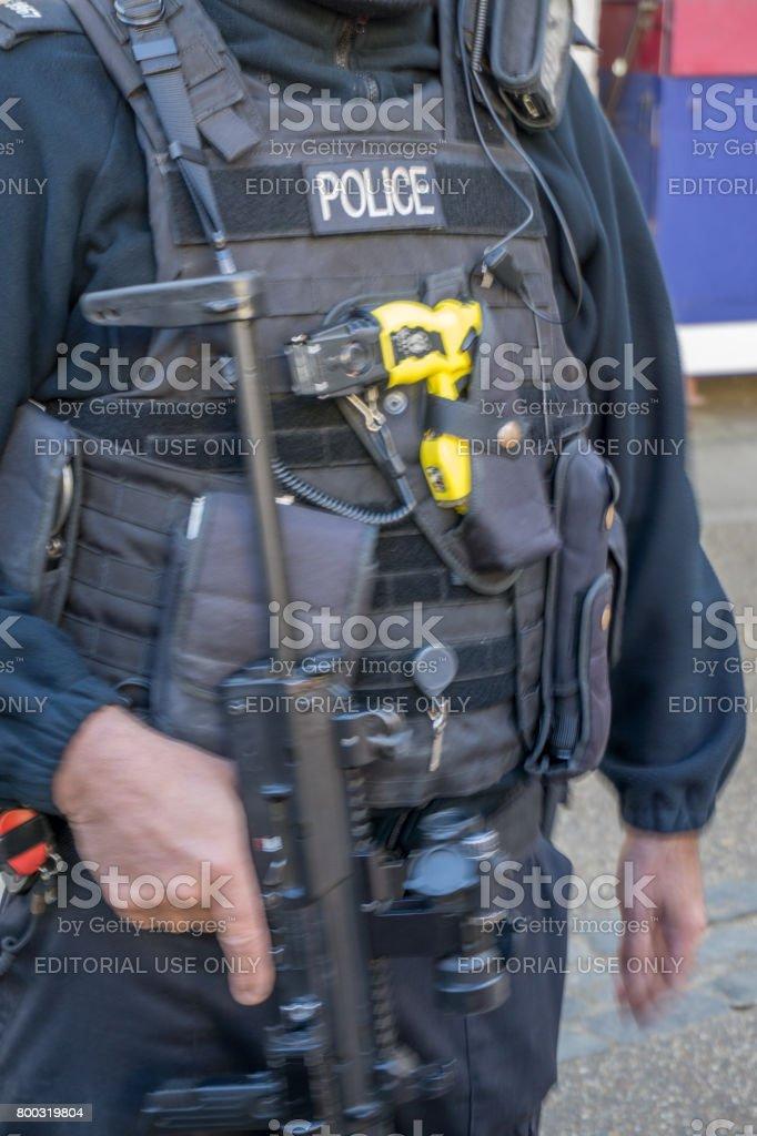 London policeman uniform and equipment stock photo