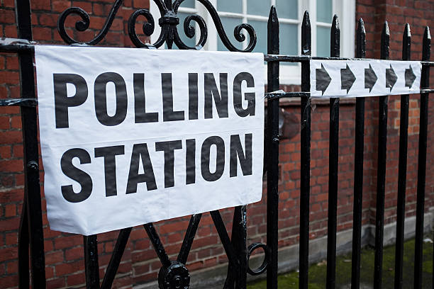 london polling station - vote sign stock photos and pictures