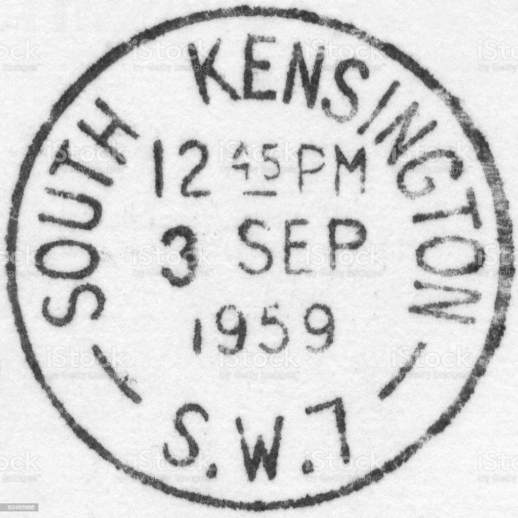 London postmark - South Kensington 1959 royalty-free stock photo