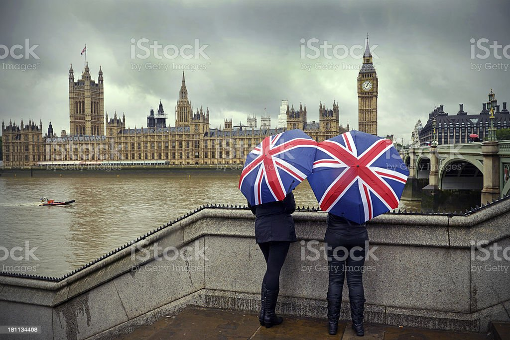 London rain stock photo