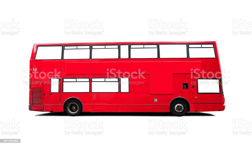 London Red Double Decker Bus on White stock photo