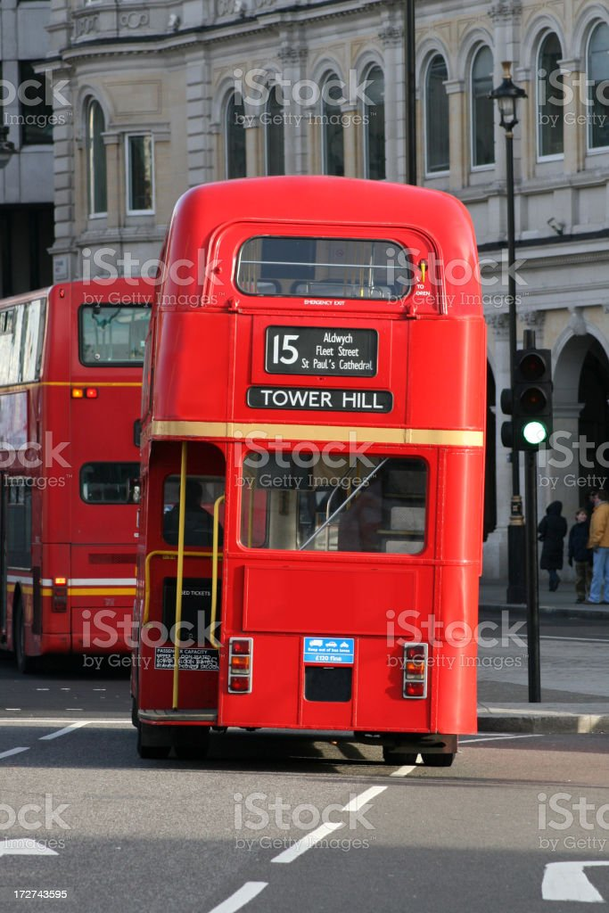 London red double decker bus stock photo