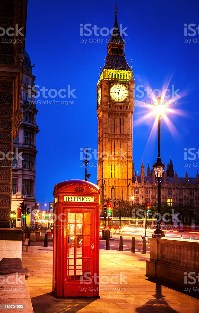 London Red Telephone Box at night royalty-free stock photo