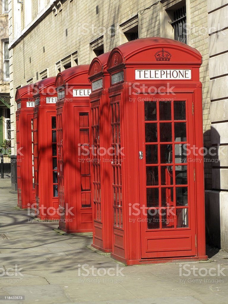 London Red Telephone Boxes royalty-free stock photo