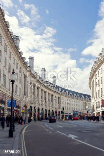 View of Regent Street near Piccadilly Circus, London.