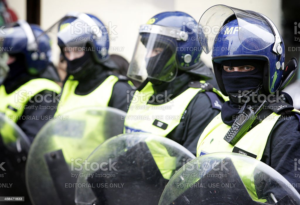 London riot police monitoring the situation. royalty-free stock photo