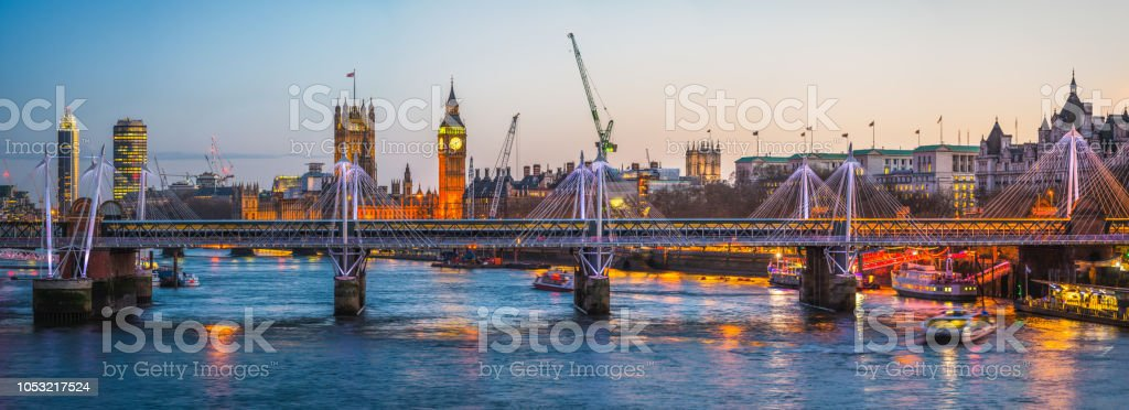 London River Thames Westminster Embankment Big Ben parliament dusk panorama stock photo