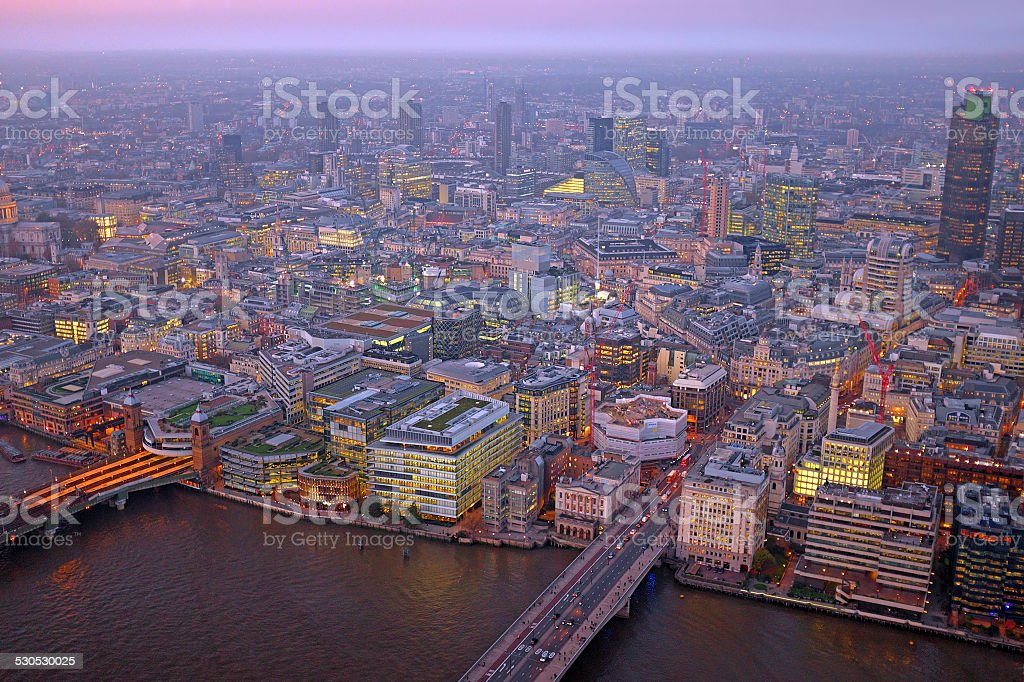 London rooftop view panorama at sunset in UK stock photo