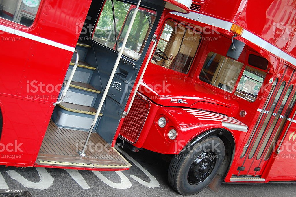 London Routemaster Buses Front and Back stock photo