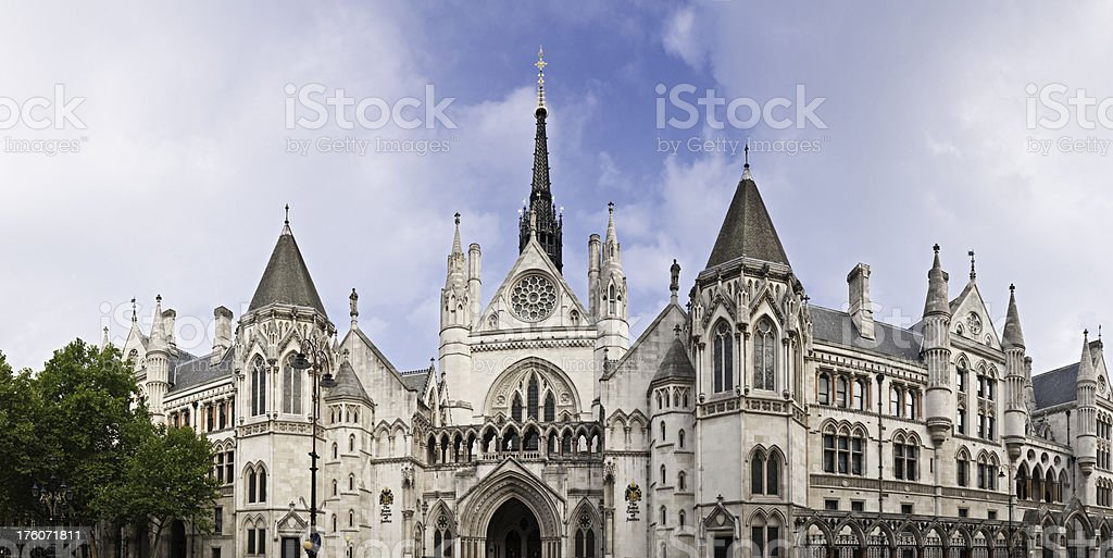 London Royal Courts of Justice Strand Holborn panorama royalty-free stock photo