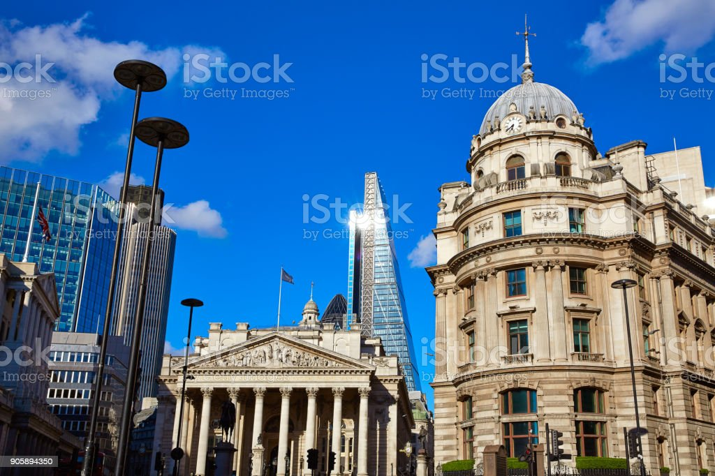 London Royal exchange building financial district stock photo