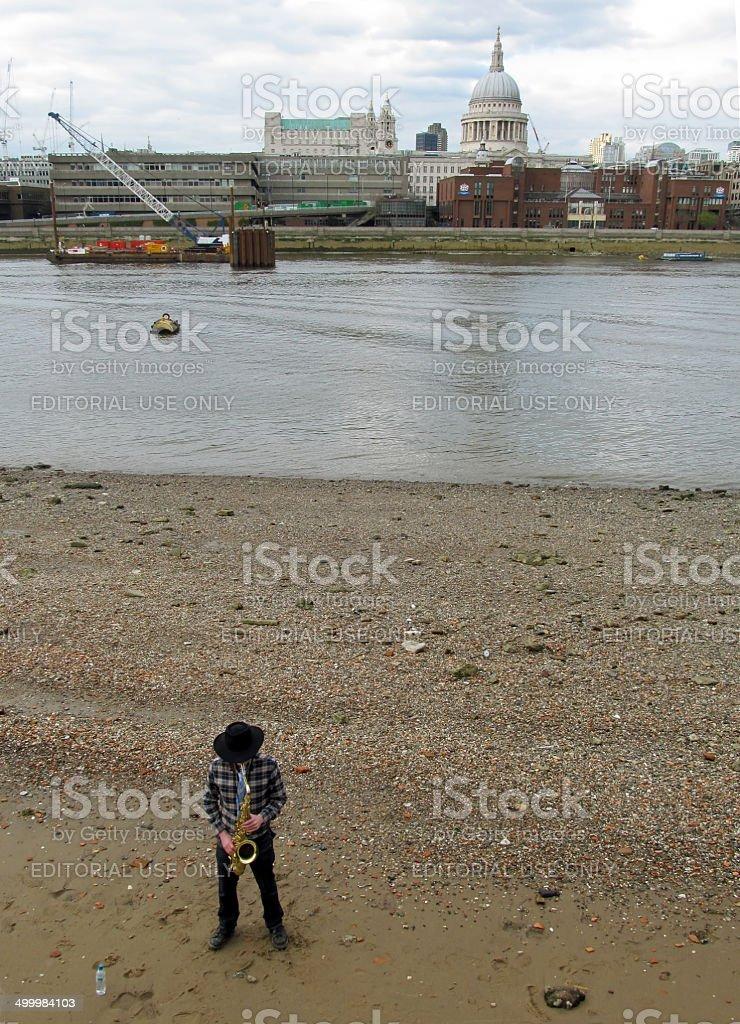 London Saxophonist stock photo