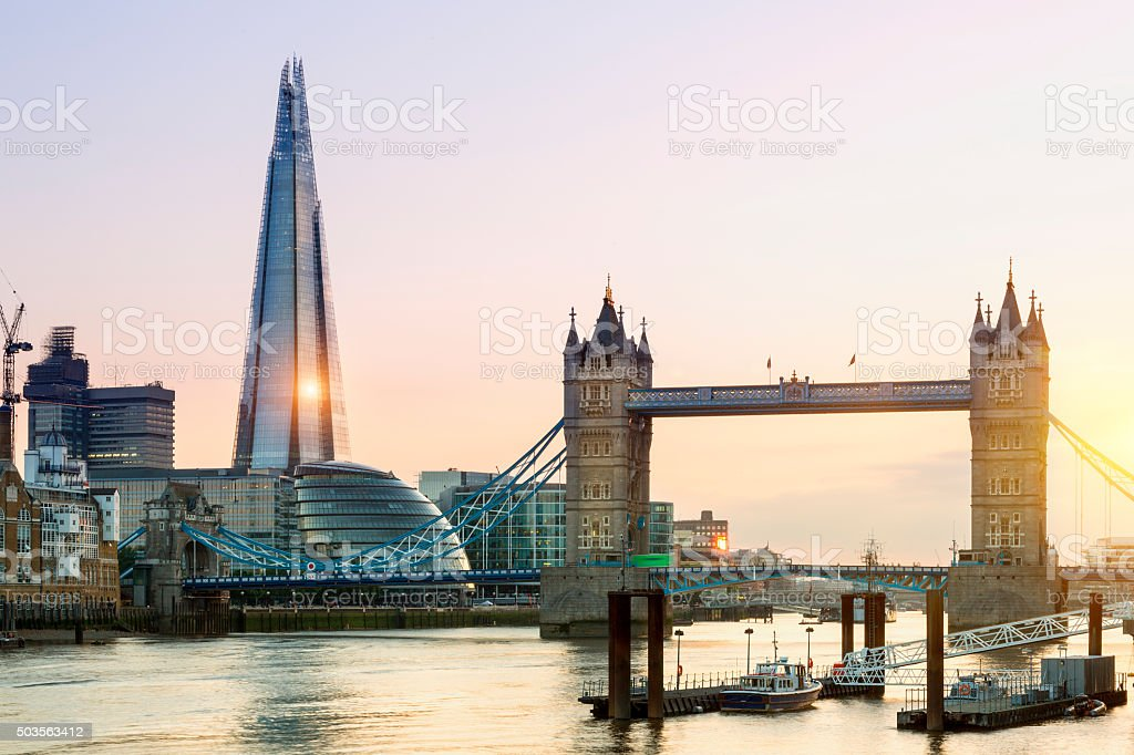 London, Shard London Bridge and Tower Bridge at Sunset stock photo
