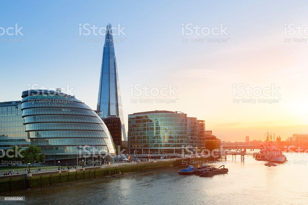 London, Shard London Bridge  at Sunset stock photo