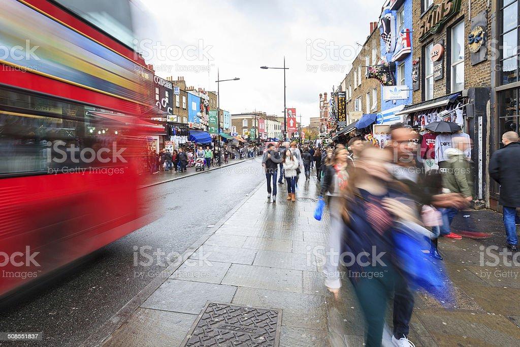 London, shoppers walking along crowded Chalk Farm Road in Camden stock photo