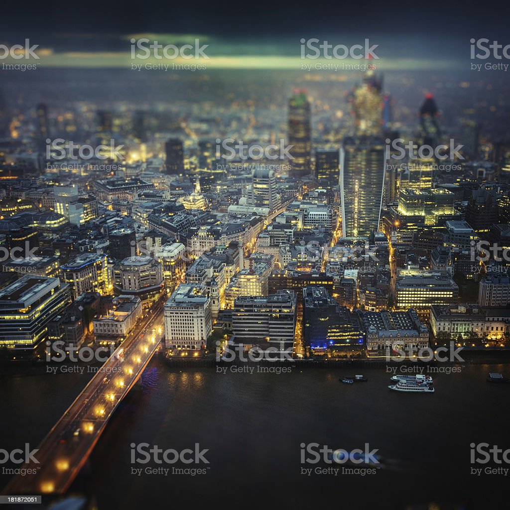 London skyline aerial view on night royalty-free stock photo