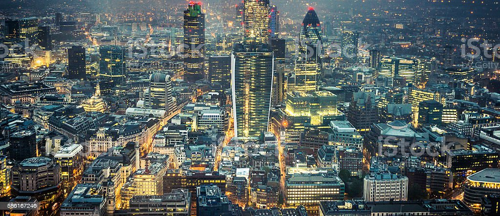 London skyline aerial view on night stock photo