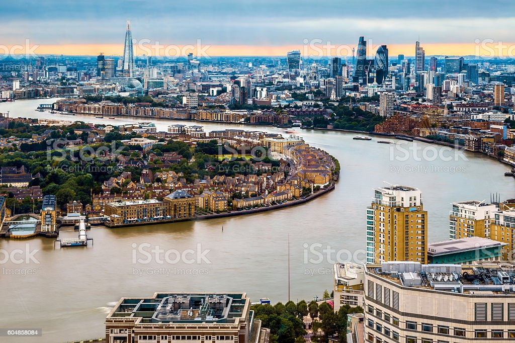 London Skyline, Aerial View with Landmarks stock photo