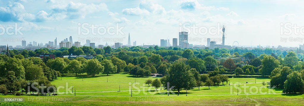 London Skyline and Primrose hill park panorama stock photo