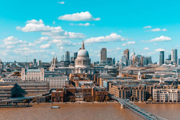 London skyline and St Paul Cathedral aerial view London skyline and St Paul Cathedral aerial view - Panoramic image of London with Thames river on foreground, and the city on background - Travel and architecture concepts central london stock pictures, royalty-free photos & images