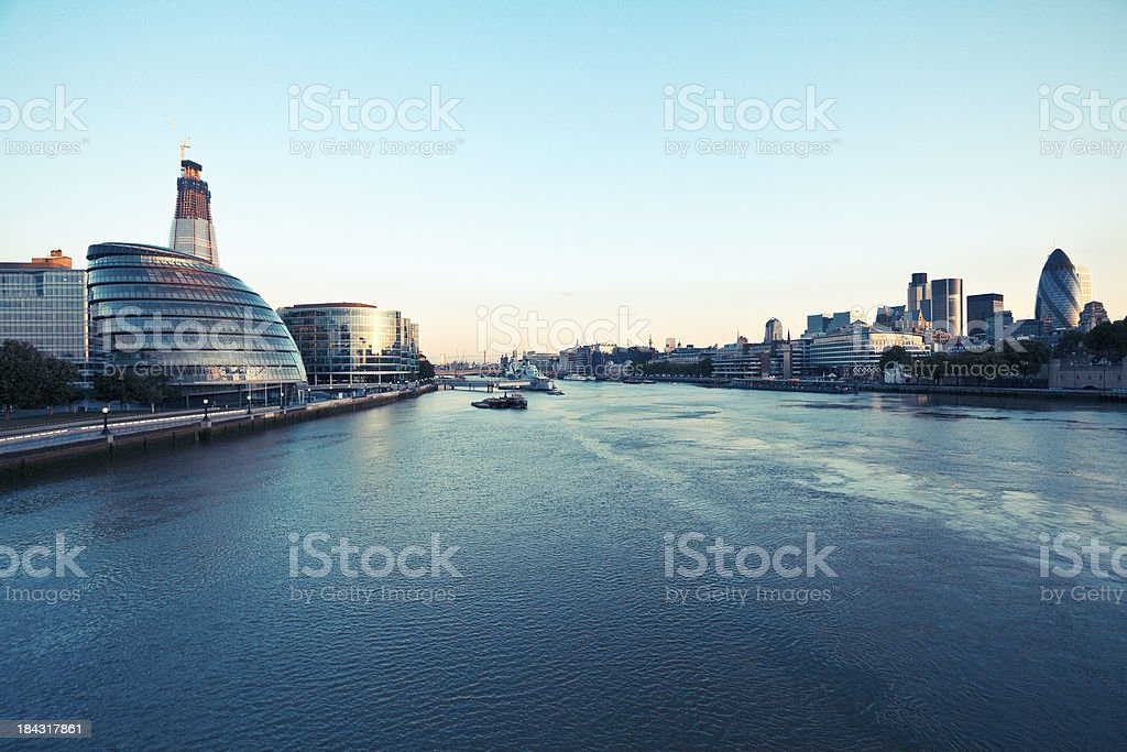 London skyline and Thames River at dawn stock photo