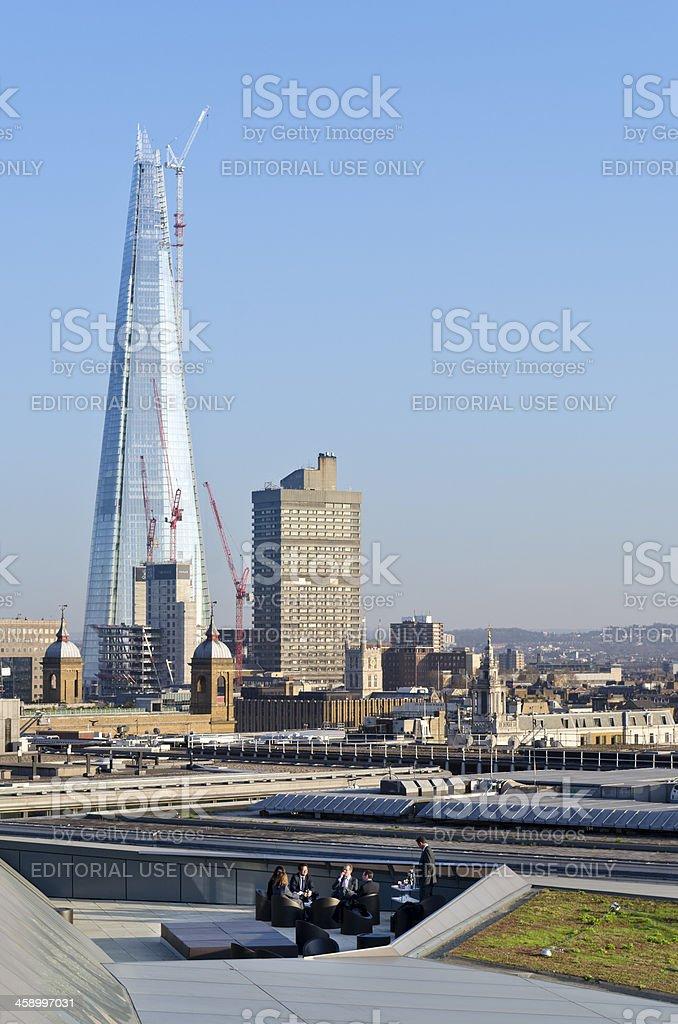 London skyline and The Shard skyscraper under construction stock photo