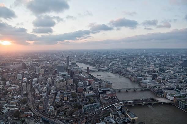 London Skyline at Sunset stock photo