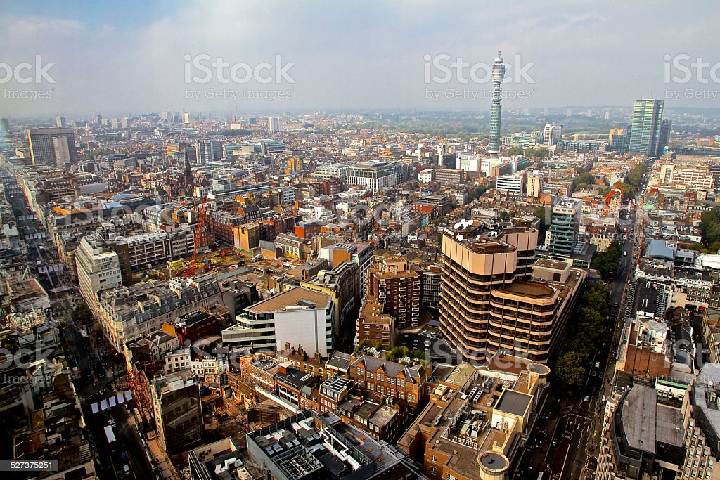 London Skyline BT Tower and Oxford Street stock photo
