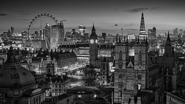 London skyline bw stock photo