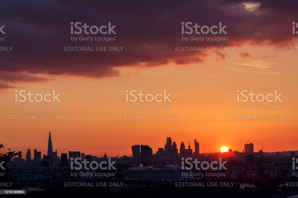 London skyline from Greenwich Park with the Shard London Bridge and...