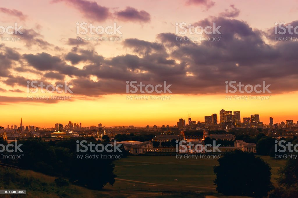 London skyline from Greenwich Park with the Shard London Bridge, City...