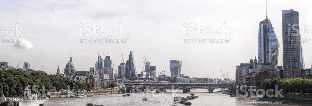 London skyline from Waterloo Bridge 2017 cityscape panorama stock photo