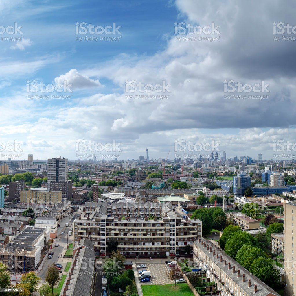 London skyline, looking from estate towards skyscrapers of The City stock photo