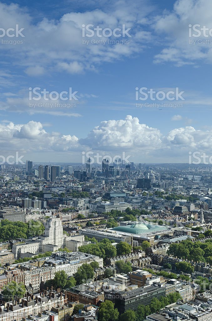 London skyline looking towards skyscrapers of The City stock photo
