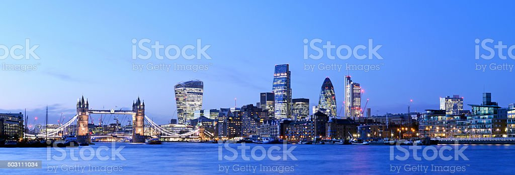 London skyline panoramic nightime view. stock photo