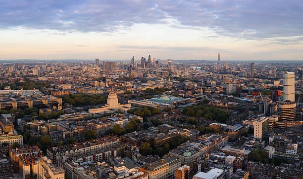 London skyline sunset panorama stock photo