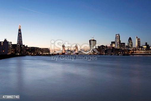View of London's skyline with The Shard, Tower Bridge and City of London at dusk.