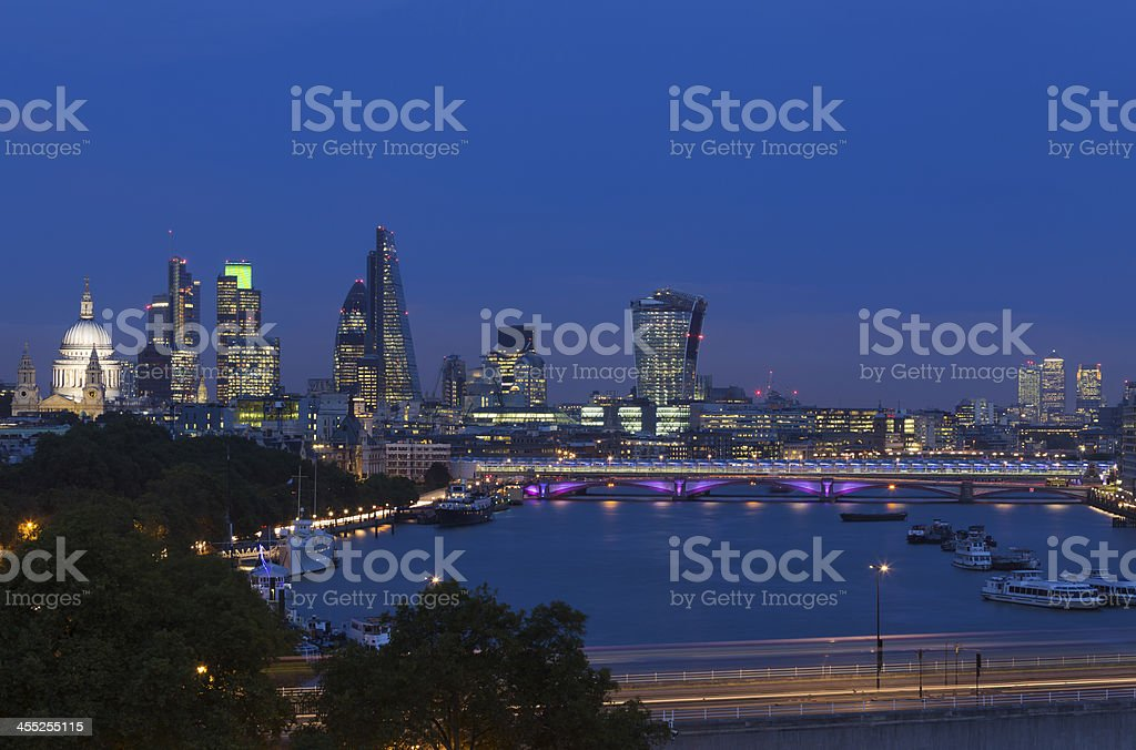 London skyline view of River Thames St Paul's and City stock photo