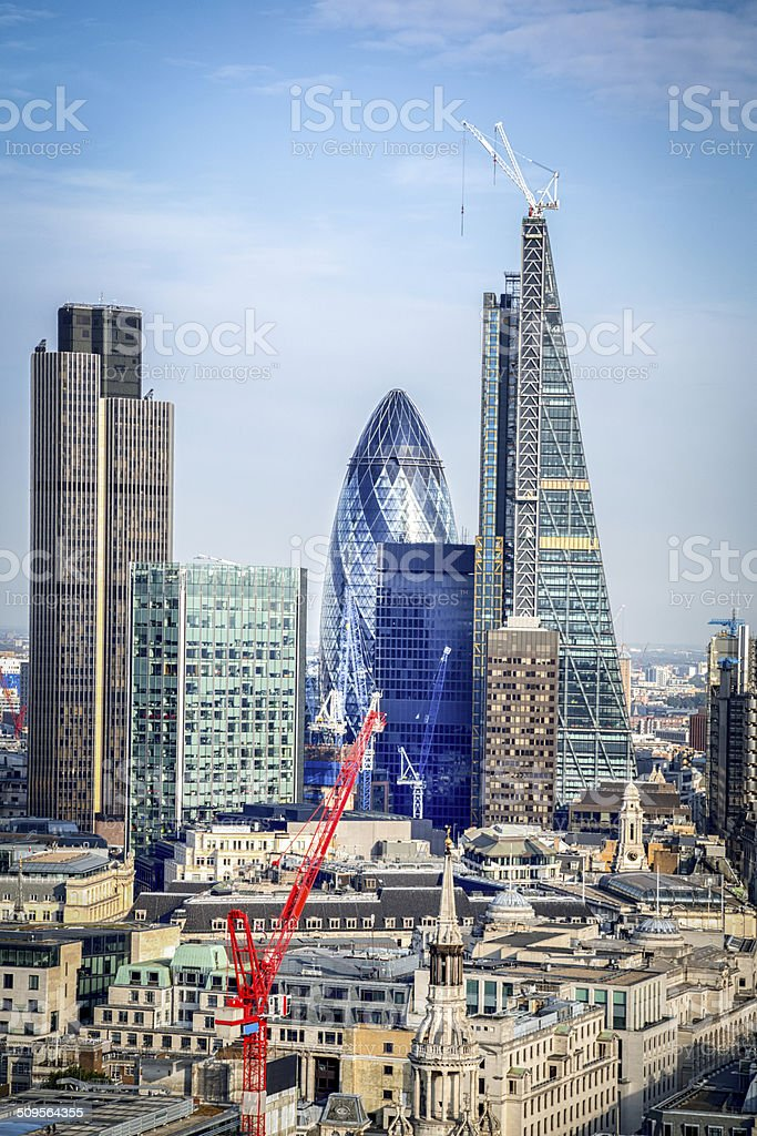 London Skyline with the Shard and Docklands from St. Pauls stock photo