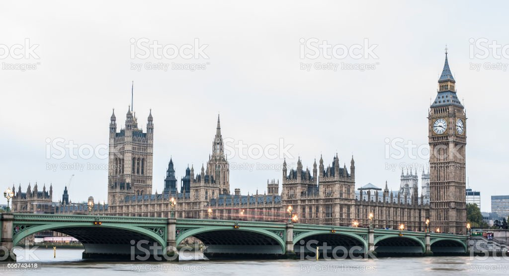 London skyline with Westminster bridge and the Big Ben - London - UK stock photo