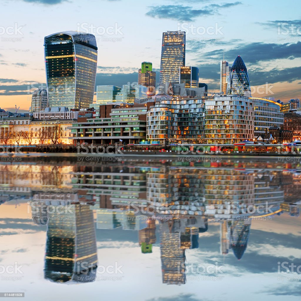 London Skylines at dusk England UK stock photo