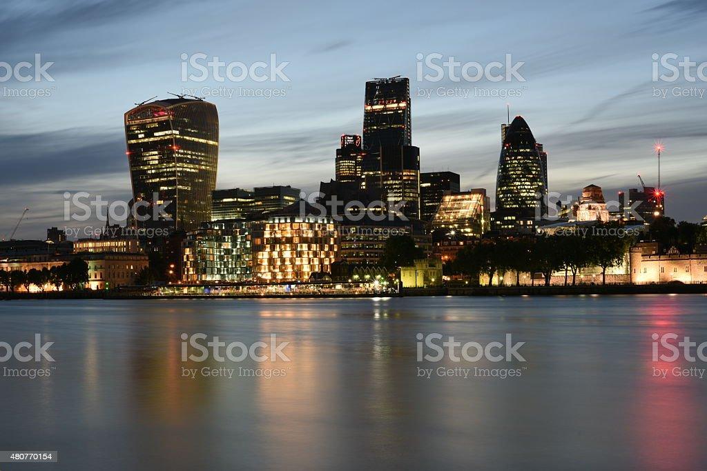 London Skyscrapers at night stock photo