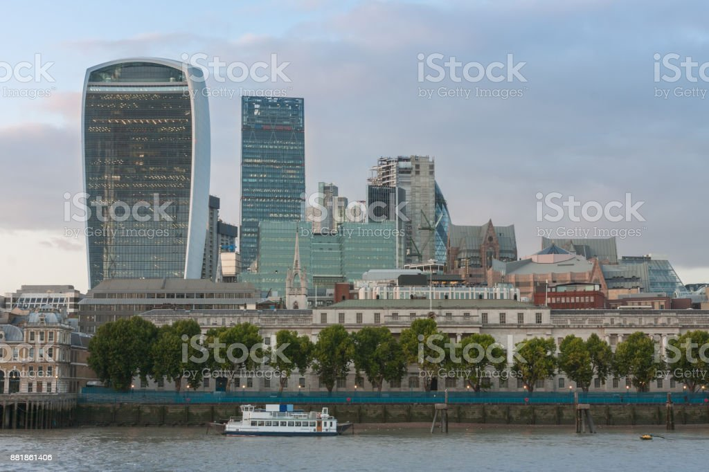 London skyscrapers in City of London at sunset time stock photo