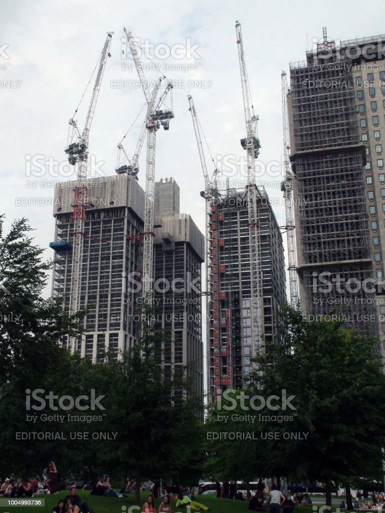 London Skyscrapers Under Construction And People View In England Europe stock photo