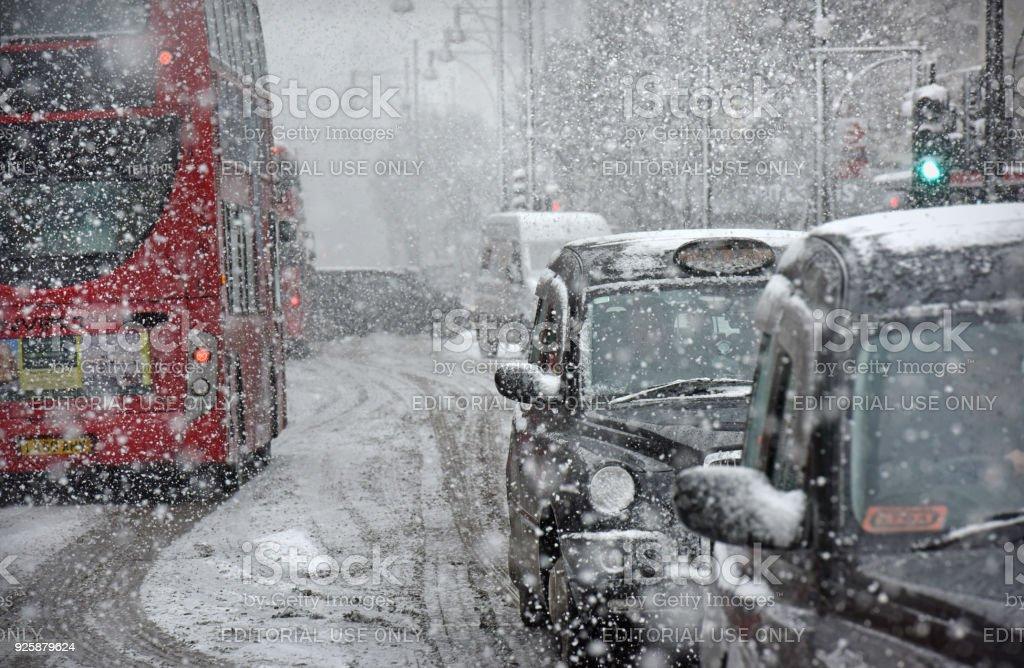 London snow storm stock photo