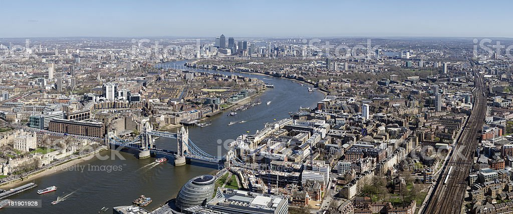 London, spectacular aerial view of Tower Bridge royalty-free stock photo