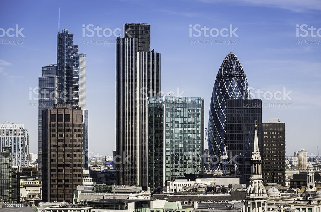 London Square Mile financial district skyscrapers stock photo